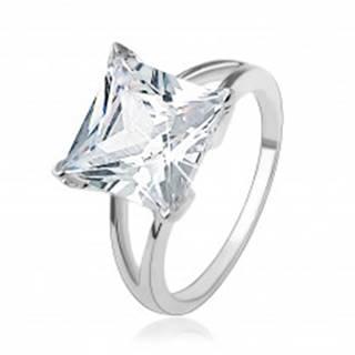 Zásnubný strieborný 925 prsteň s masívnym štvorcovým zirkónom - Veľkosť: 49 mm