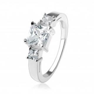 Zásnubný trblietavý prsteň, štvorcové zirkóny čírej farby, striebro 925 - Veľkosť: 49 mm