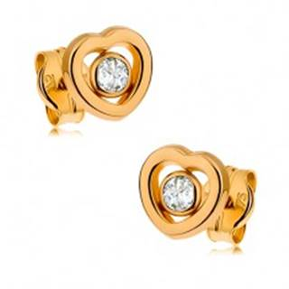 Zlaté náušnice 375 - kontúra symetrického srdiečka, číry zirkón uprostred