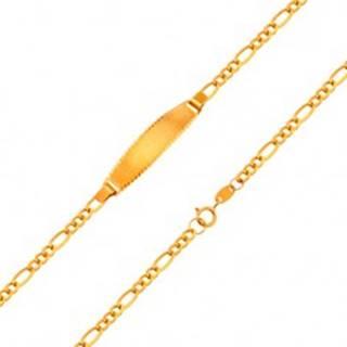 Zlatý 18K náramok s matnou platničkou - retiazka so vzorom Figaro, 155 mm