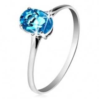 Zlatý prsteň 585 s oválnym ligotavým topásom modrej farby, tenké ramená - Veľkosť: 49 mm