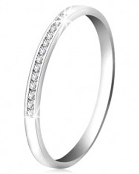 Briliantový prsteň z bieleho 14K zlata - ligotavá línia drobných čírych diamantov BT502.43/49 - Veľkosť: 49 mm