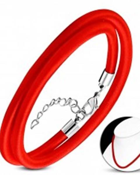 Červený náhrdelník obtočený lesklou niťou, nastaviteľná dĺžka, karabínka AA05.05