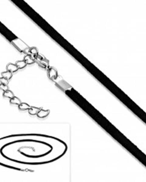 Čierna šnúrka na prívesok, nastaviteľná dĺžka, karabínka