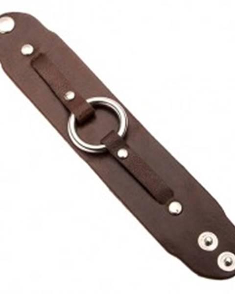 Čokoládovo-hnedý kožený náramok na ruku s okrúhlou prackou P9.5
