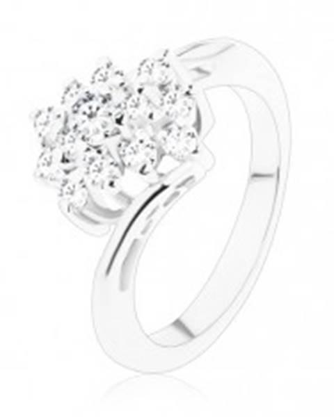 Lesklý prsteň so zahnutými ramenami, zirkónový obdĺžnik v čírom odtieni - Veľkosť: 49 mm
