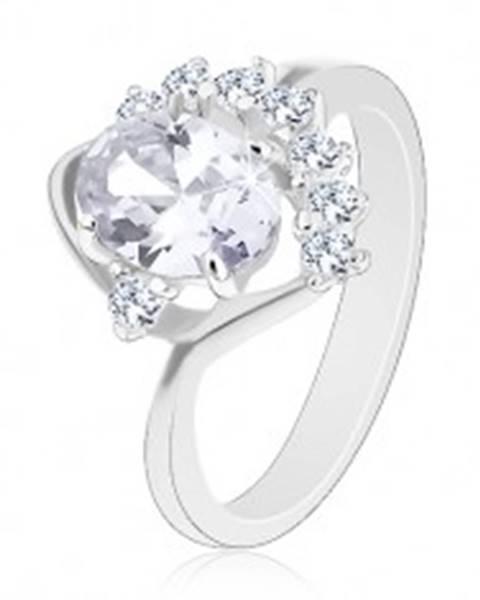 Ligotavý prsteň so zahnutým ramenom, číre oválne a okrúhle zirkóny, oblúčik - Veľkosť: 49 mm