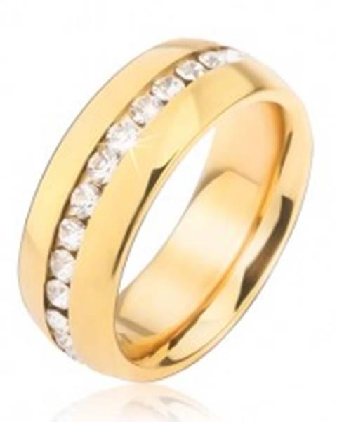 Obrúčka zlatej farby z chirurgickej ocele so zirkónovým pásom čírej farby - Veľkosť: 49 mm