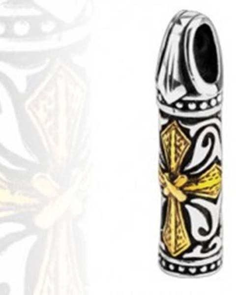 Oceľový prívesok - trojfarebný valček, kríž