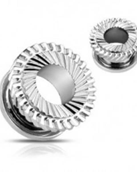 Oceľový tunel do ucha - dvojité ozubené koliesko - Hrúbka: 10 mm
