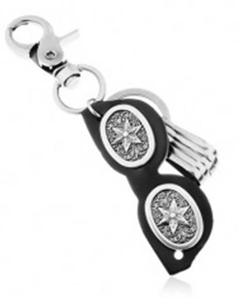 Prívesok na kľúče s patinovaným povrchom, čierne okuliare z kože, hviezda