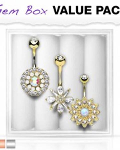 Set troch piercingov do brucha, oceľ 316L, vsadené zirkóny a syntetické opály - Farba piercing: Medená