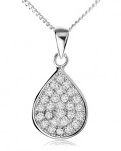 Strieborný náhrdelník 925, trblietavá zirkónová slza, retiazka