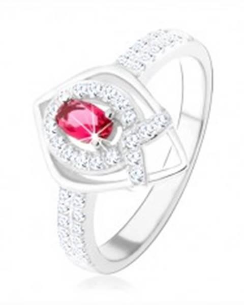 """Strieborný prsteň 925, obrys špicatej slzy, ružový zirkón, línia v tvare """"V"""" HH2.6 - Veľkosť: 50 mm"""