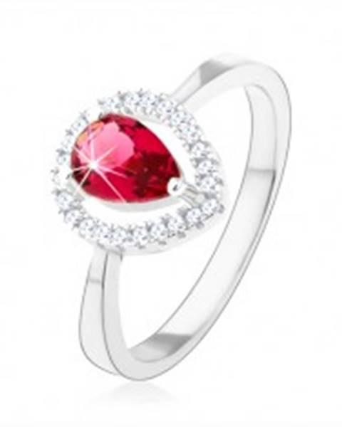 Strieborný prsteň 925, ružová zirkónová slza, trblietavá kontúra - Veľkosť: 49 mm