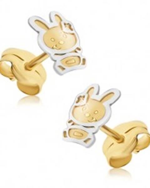 Zlaté náušnice 585 - dvojfarebný zajačik so saténovým povrchom, lesklá kontúra