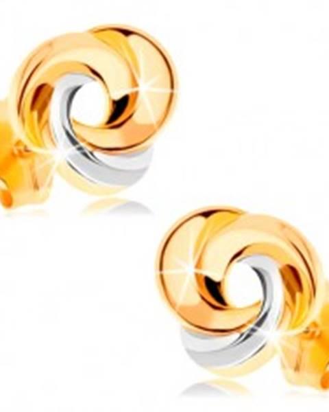 Zlaté náušnice 585 - tri prepojené prstence, žlté a biele zlato