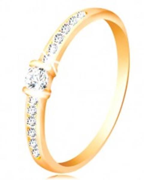 Zlatý prsteň 14K - číre trblietavé ramená, vyvýšený okrúhly zirkón čírej farby - Veľkosť: 49 mm