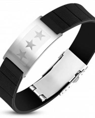 Čierny gumený náramok s oceľovou známkou striebornej farby, tri hviezdy