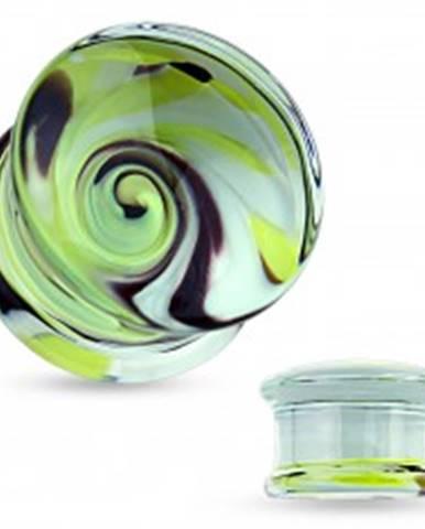 Číry plug do ucha z pyrexového skla, motív víru žltej, čiernej a bielej farby SP63.15 - Hrúbka: 10 mm