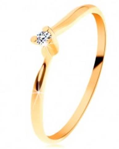 Ligotavý prsteň zo žltého 14K zlata - číry brúsený diamant, tenké ramená BT153.23/30 - Veľkosť: 49 mm