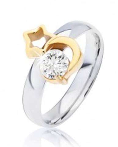 Oceľový prsteň striebornej farby, mesiac zlatej farby, obrys hviezdy a číry zirkón - Veľkosť: 49 mm