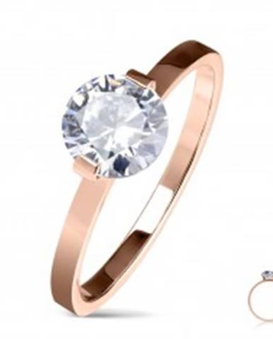 Oceľový zásnubný prsteň medenej farby, okrúhly číry zirkón, lesklé ramená M11.09 - Veľkosť: 50 mm