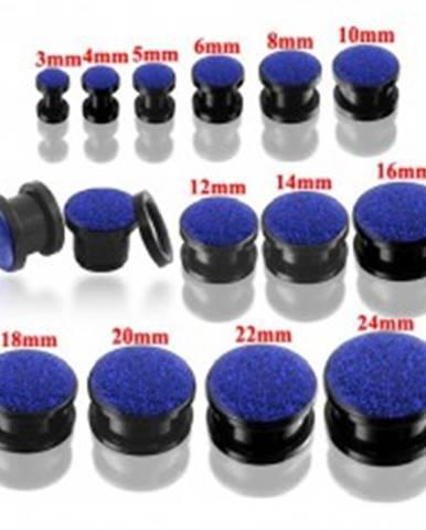 Okrúhly tunel plug čiernej farby s modrými glitrami Y01.18 - Hrúbka: 10 mm