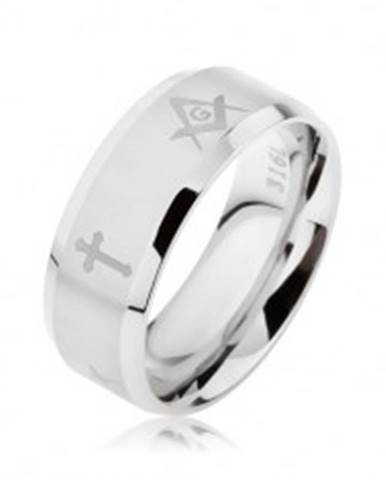 Prsteň z ocele striebornej farby, matný pásik s krížmi a symbolmi slobodomurárov SP62.31 - Veľkosť: 57 mm