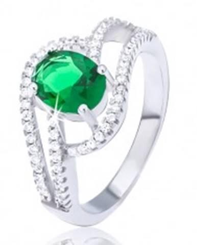 Prsteň zo striebra 925, zdvojená zirkónová vlnka, oválny zelený kamienok BB7.10 - Veľkosť: 51 mm
