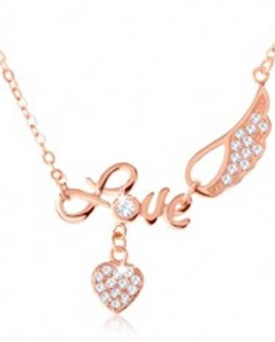 "Strieborný náhrdelník 925, medená farba, nápis ""Love"", anjelské krídlo, srdce SP60.17"