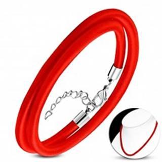 Červený náhrdelník obtočený lesklou niťou, nastaviteľná dĺžka, karabínka
