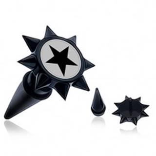 Čierny fake taper do ucha s ostňami a čiernou hviezdou PC36.12