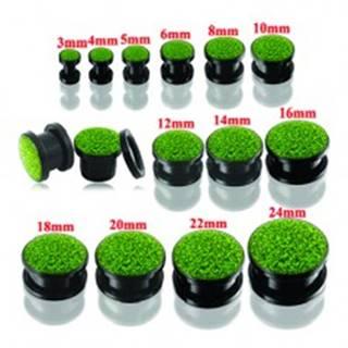 Čierny okrúhly tunel plug do ucha so zelenými trblietkami - Hrúbka: 10 mm