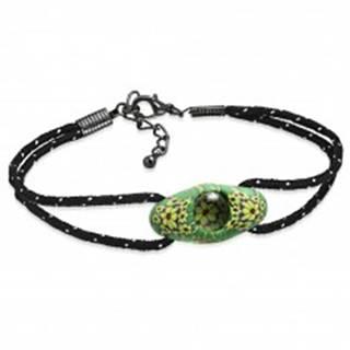 Čierny šnúrkový náramok, zelená oválna FIMO korálka, žlté kvety AA21.13/AA37.04 - Dĺžka: 180 mm