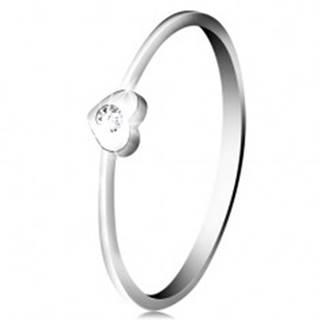 Diamantový prsteň z bieleho 14K zlata - srdiečko s čírym briliantom BT502.57/63 - Veľkosť: 49 mm