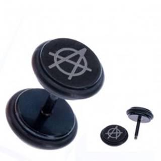 Falošný plug do ucha, čierne lesklé kolieska, symbol anarchie
