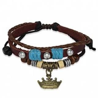 Kožený náramok s drevenými korálkami, kráľovská koruna