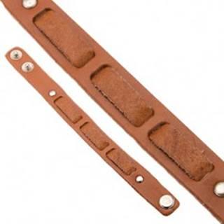 Kožený škoricovohnedý náramok na ruku - prerušovaný pás P7.7