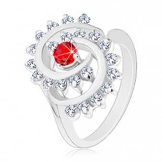 Lesklý prsteň v striebornej farbe, špirála s čírym lemom, červený okrúhly zirkón V03.05 - Veľkosť: 51 mm