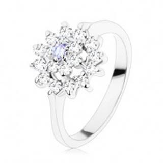 Lesklý prsteň v striebornom odtieni, svetlofialový stred, zirkónový kruh V08.15 - Veľkosť: 49 mm