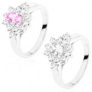 Ligotavý prsteň s hladkými ramenami, kvet s brúseným oválom, číre lupene - Veľkosť: 49 mm, Farba: Číra