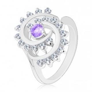 Ligotavý prsteň s ozdobnou špirálou s čírym lemom, svetlofialový zirkón V03.12 - Veľkosť: 52 mm