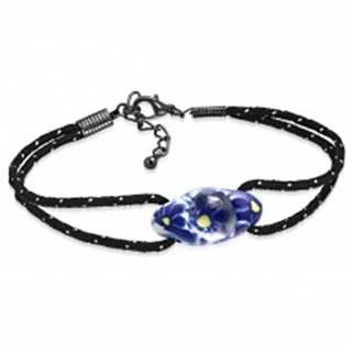 Náramok z čiernej šnúrky a oválnej FIMO korálky, modré kvety AA21.15/AA37.01 - Dĺžka: 190 mm