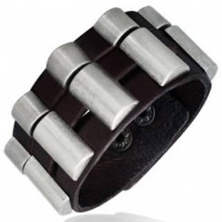 Náramok z kože - trojdielny, zaoblené kovové diely