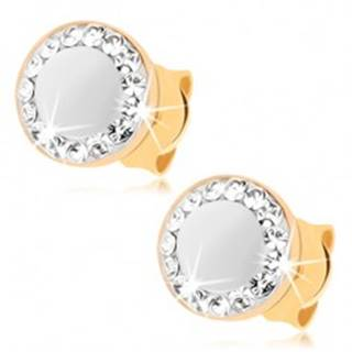 Náušnice v žltom 9K zlate - perleťový kruh, obrys zo Swarovského krištáľov