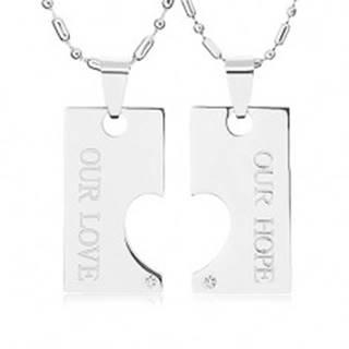 Oceľové náhrdelníky pre dvoch, známka s výrezom polovičného srdca, nápis