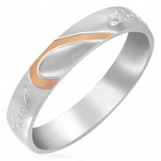 Oceľový prsteň - polovica srdca, zrkadlový lesk - Veľkosť: 46 mm