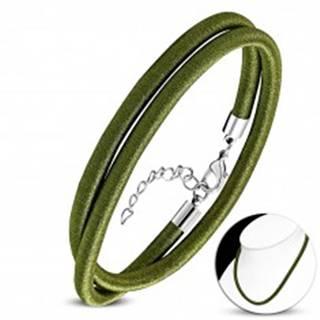 Olivový náhrdelník obtočený lesklou niťou, nastaviteľná dĺžka, karabínka AA07.20