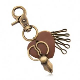 Patinovaný prívesok na kľúče, mosadzný odtieň, nožnice a hnedé srdiečko